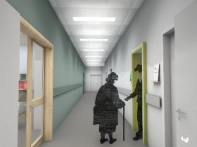 Les encadrements de portes des espaces dans lesquels les patients sont invités à se rendre sont en relief et en couleur : séjour, salle de soin et toilettes.