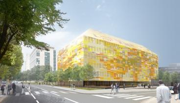 Esquisse bâtiment du CRBS dans lequel l'IGMA occupera une partie du rez-de-chaussé; Architectes Groupe 6