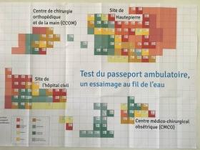 Le passeport ambulatoire. Phase de test. Cartographie des ambassadeurs. Chaque carré représente un ambassadeur. Les couleurs correspondent à des corps de métiers. Crédit : La Fabrique de l'hospitalité