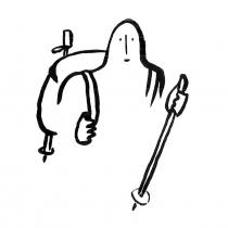 Illustration à l'encre de chine pour les 10 principes de la Récupération rapide après chirurgie (RAAC) : La marche. Création, Anne-Laure Desflaches et Anne Régnault, La Fabrique de l'hospitalité.