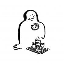 Illustration à l'encre de chine pour les 10 principes de la Récupération rapide après chirurgie (RAAC) : L'alimentation. Création, Anne-Laure Desflaches et Anne Régnault, La Fabrique de l'hospitalité.